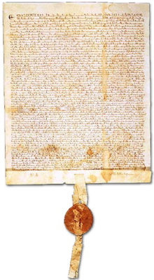 """Magna Carta to which King John of England agreed in 1215"""